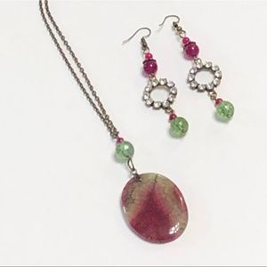 Agate & Green Tourmaline Quartz Necklace Earrings